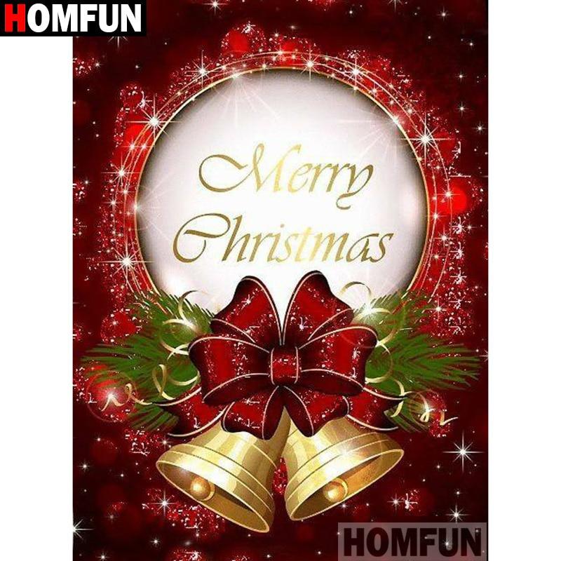"HOMFUN Art 5D Diy Diamant Schilderij ""Christmas bell Tekst"" Diamant Foto Kruissteek 3D Strass Borduurwerk Decor A27830|Diamond Schilderen Kruissteek|   - AliExpress"