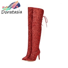 DORATASIA New Plus Size 33-48 Sexy Shining Party Evening Thigh High Boots Women Heels Over The Knee Shoes Woman