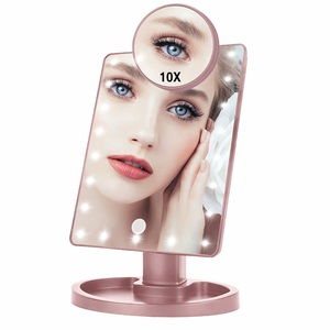 LED Touch Screen Makeup Mirror Professional Vanity 16 LED Lights Beauty Adjustable Countertop 22 Led Rotating Battery USB Charge