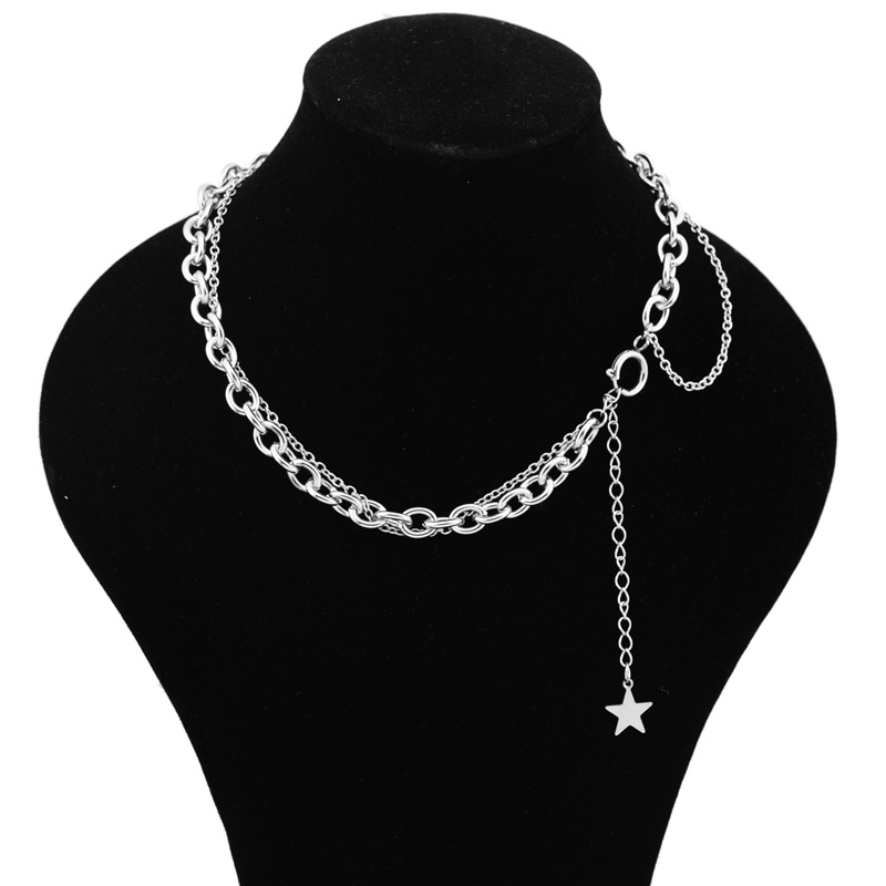Stainless steel small five star chain necklace for women thick double chain mix new fashion necklace jewelry wholesale