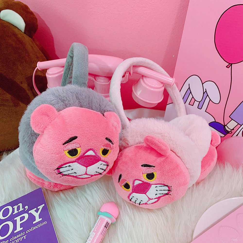 New Cute Winter Warm Earmuff For Girls And Boys Plush Warm Pink Panther Earmuffs Children Lovely Winter Earmuffs Ear Cover