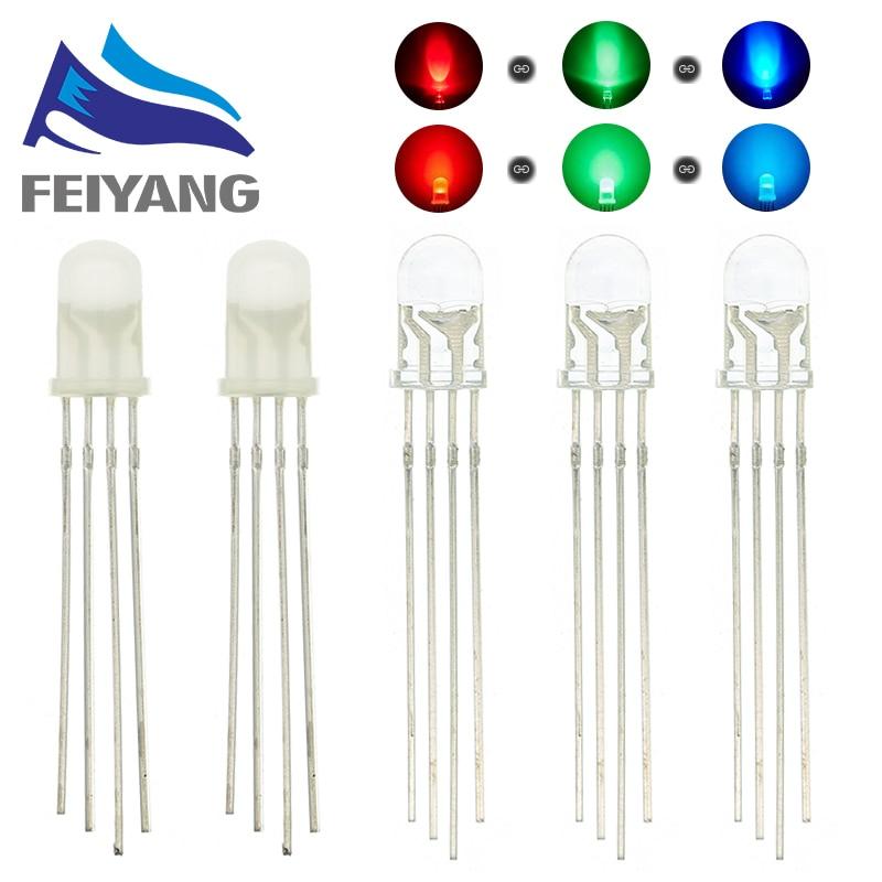 100 шт. 5 мм 4 контакта RGB LED общий анод/катод трехцветные диоды рассеиваемые