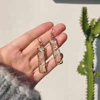2019 Fashion Geometric Rectangular Shiny Broken Shell Transparent Acrulic Ear Hook Long Drop Earrings for Women Girl Jewelry