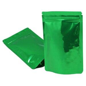 100 pçs/lote verde brilhante levante-se a folha de alumínio zip bloqueio rasgo entalhe malotes carne seca café em pó varejo saco armazenamento reclosable