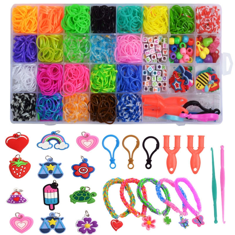 New 1500pcs Rainbow Rubber Bands Set Kid Multi-functional Classic Practical Funny DIY Toys Rainbow Woven Bracelet for Girl Gifts 2