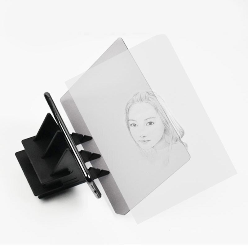 Tablero de dibujo de imagen óptica dibujo de lente reflejo especular soporte de atenuación desarrollar la coordinación mano-ojo 20,2x13,5 cm