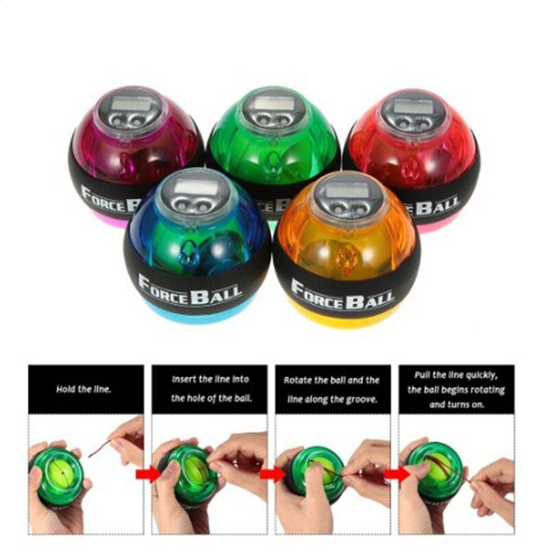 LED Power Wrist Strengthener Ball Gyroscope Power PVC Forearm Speed Counter Hand Spinner Force Ball 4 Colors