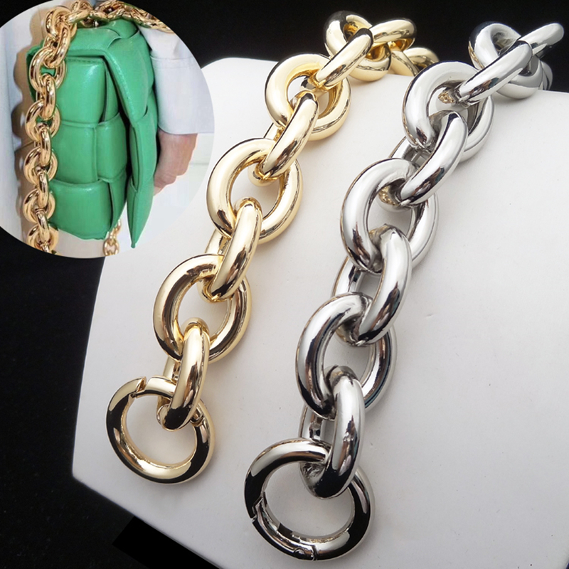 Metal Chain Bag Strap Handmade Bag Accessories Wallet Bag Straps Big O Ring Aluminium Chains Small Bag Round Clasp High Quality