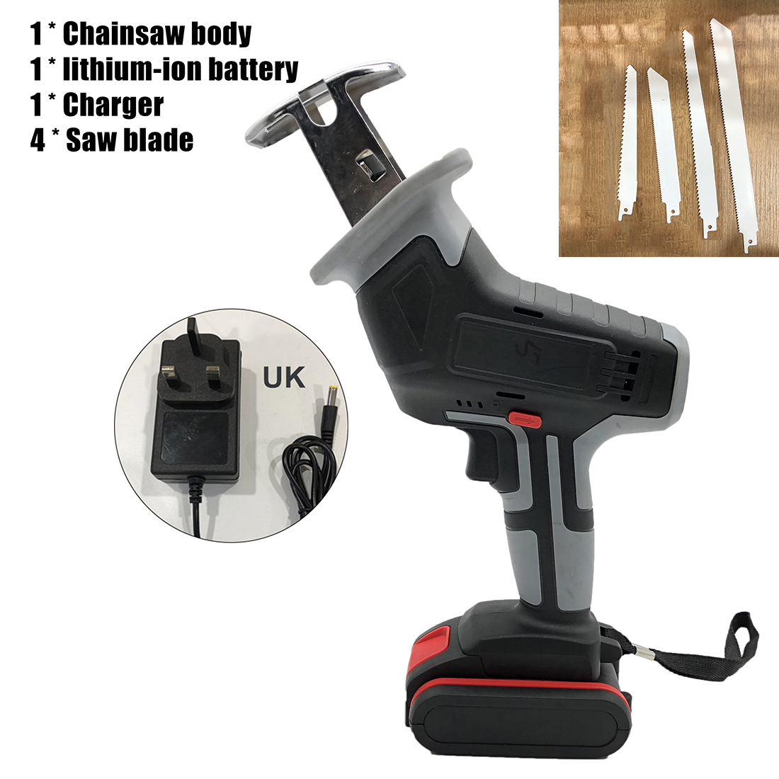 18V Cordless Reciprocating Saw 4 Saw Blades Metal Cutting Wood Tool Portable Woodworking Cutters With Battery 3000spm Power Tool|Electric Saws| |  - title=