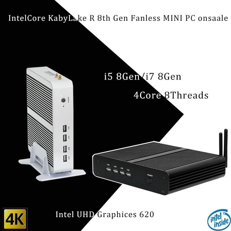 Новые Kaby Lake R 8Gen безвентиляторный мини ПК i5 8250u/i7 8550u Intel UHD 620 win10 4 ядра 8 нитей DDR4 2133 2400 NUC Бесплатная доставка pc