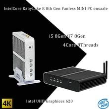 Più nuovo Kaby Lago R 8Gen pc Fanless i5 8250u/i7 8550u Intel UHD 620 win10 Quad Core 8 Thread DDR4 2133 2400 NUC Freeshipping pc