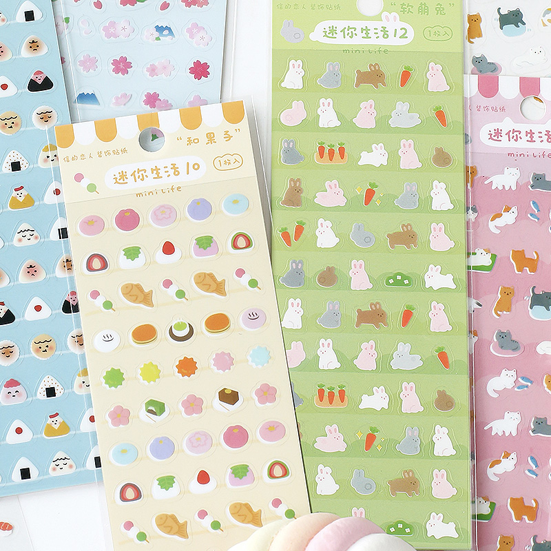 Mohamm 6 Sheets Mini Life Series Scrapbooking Stickers Cartoon Paper Sticker Flakes Stationary Office Accessories Art Supplies