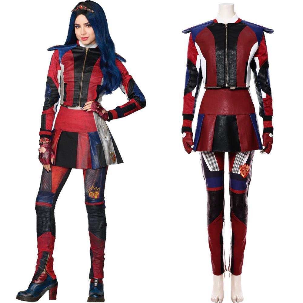 Descendants 3 Evie Cosplay Costume Top Pants Full Set Adult Women Kids Halloween Carnival Costume