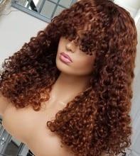 Maylaysia destaque loira base de seda encaracolado 13x6 frente do laço peruca de cabelo humano com franja cheia laço preplucked 360 frontal peruca franja