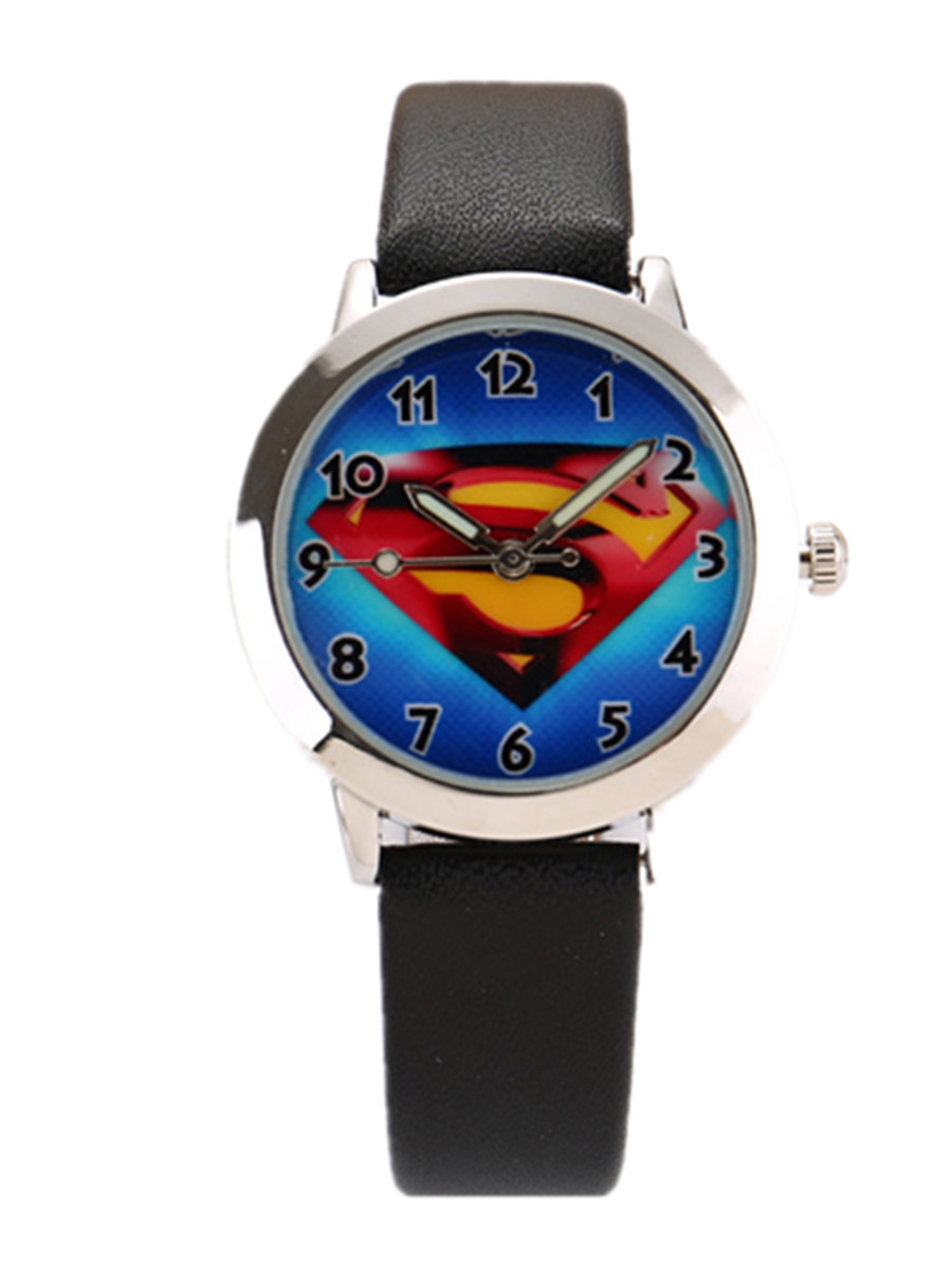 100pcs/lot Wholesales Hot Sales 6colors Cartoon Superman Boys Kids Activity Gifts Watch Quartz Small Leather Wristwatch By DHL