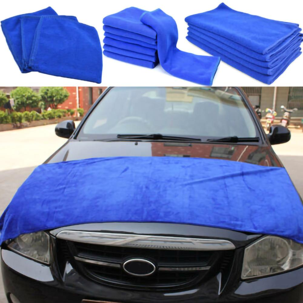 Blue Large Microfiber Car Wipers Cleaning Cloth Soft Car Towel No-Scratch Rag Polishing Detailing Towel