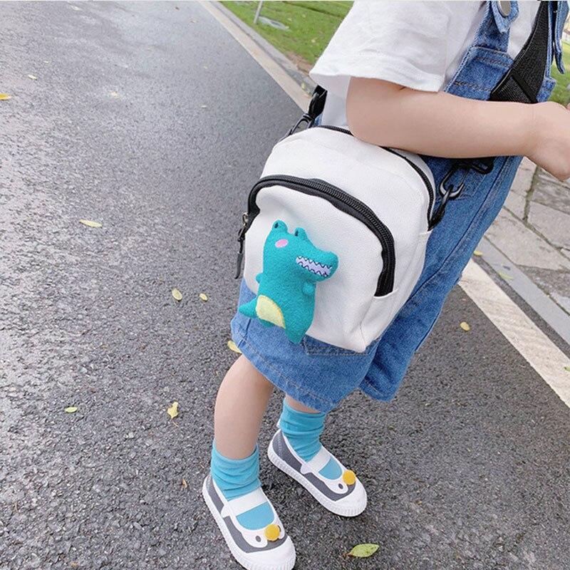 Детская сумка в Корейском стиле, милая сумка с динозавром, милая детская Наплечная Сумка, Детская сумка на плечо, Холщовая Сумка для девочек