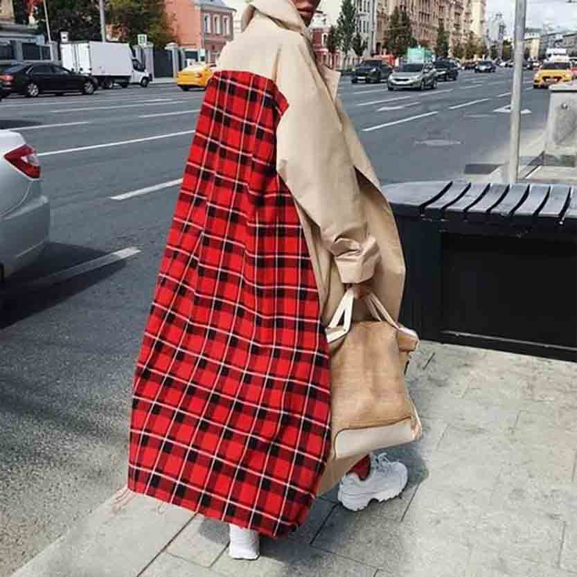 2019 Woman   Trench   Coats Casual Turn-Down Collar Women   Trench   Coat Wide-Waisted Print Femme   Trench