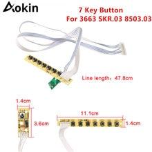 Universal 7 teclas placa de teclado lcd tv teclado de acordo com ir para v59 v29 v56 3463a 3663 skr.03 8503.03 qt526c botão chave