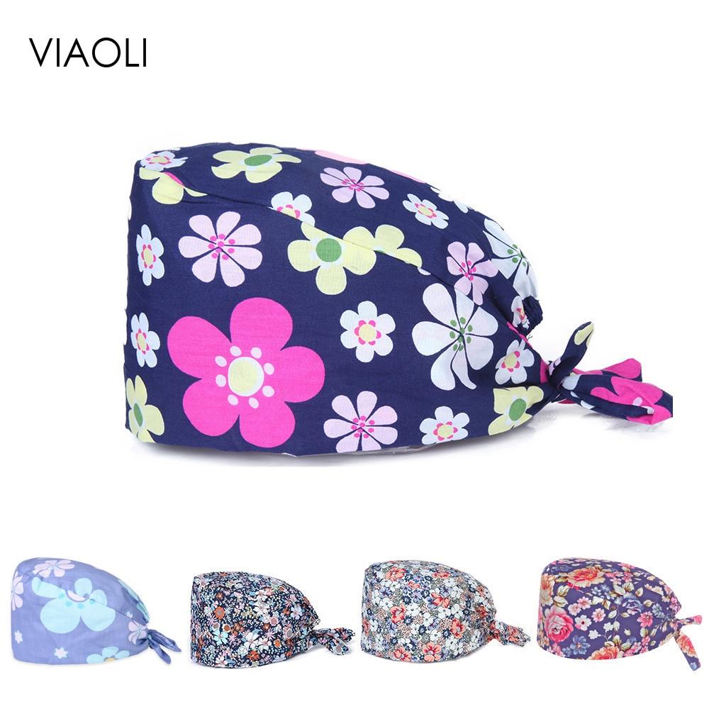 Viaoli Unisex Medical Nurse Surgical Cap Doctor Work Hat Floral Printing Beauty Salon Cap Scrub Lab Clinic Dental Operation Hat