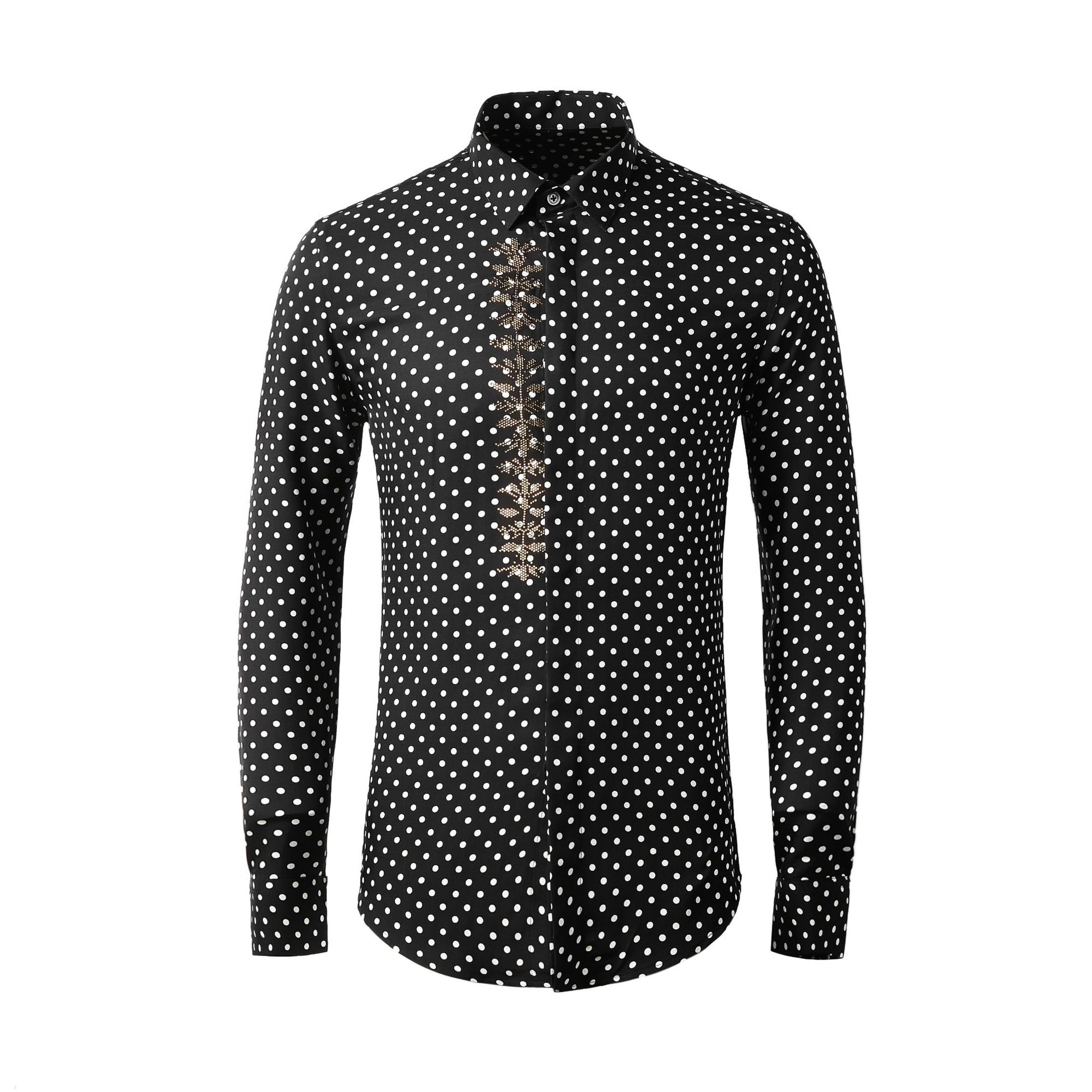New High Quality Spring Summer Wave Point Hot Stamping Printing Long Sleeve Men Fashion Polka Dot 100% Cotton Plus Size M-4XL 1
