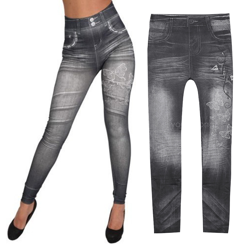 Womens  Denim Jeans Workout Gym Leggings Fitness Sports Pants Jeggings