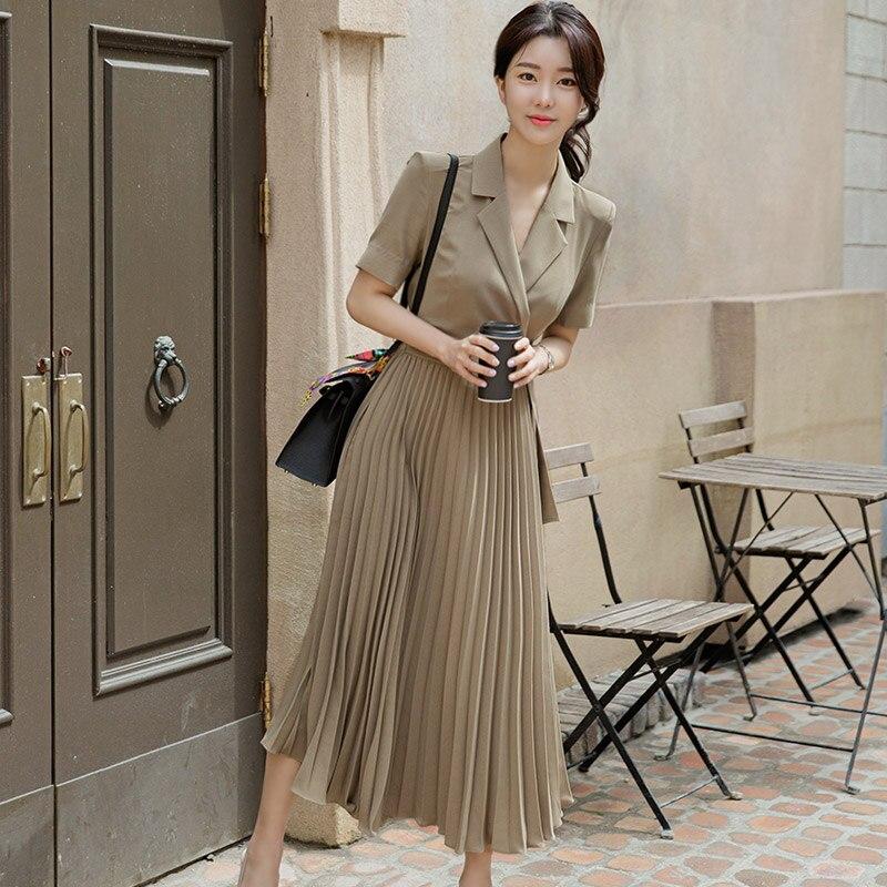 2020 summer dress new Korean temperament suit collar waist pleated big swing professional dress women