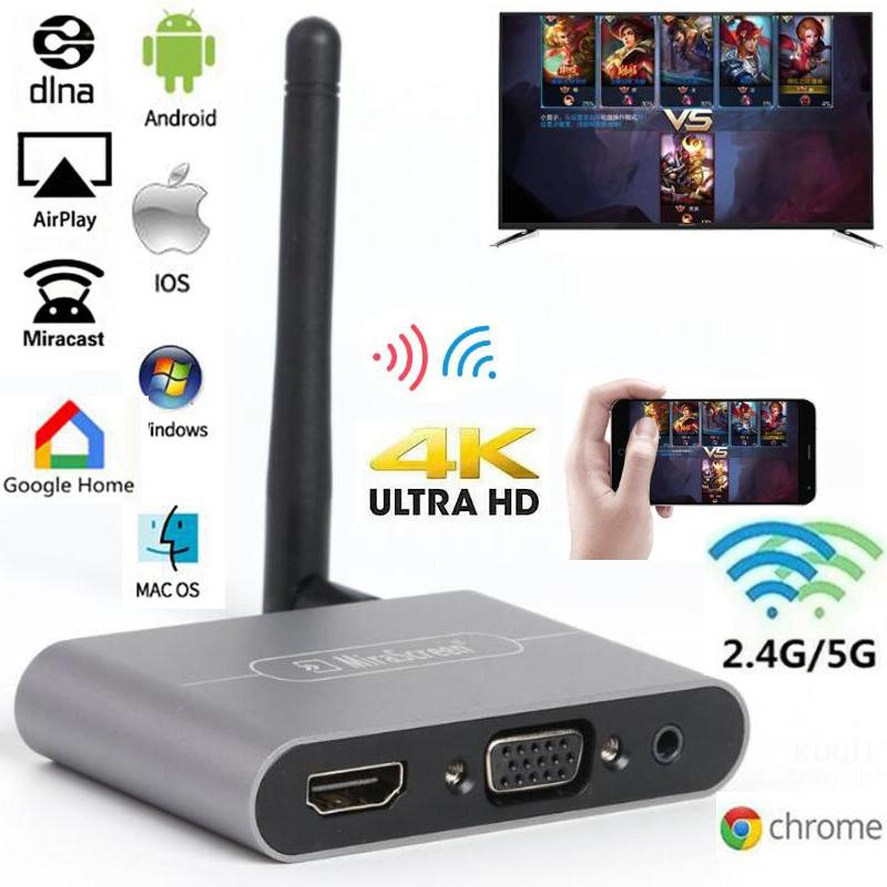 Mirascreen X6W Plus 2,4G 5G 4K HDMI inalámbrico adaptador VGA Tv Stick Miracast Airplay Wifi Dongle para IOS Android Teléfono de TV El más nuevo 1080P Anycast m4plus TV Dongle 2 reflejo múltiples TV stick adaptador Mini Android cromo fundido Dongle WiFi HDMI cualquier fundido