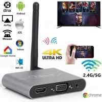 Mirascreen x6w plus 2.4g 5g 4 k adaptador hdmi vga sem fio tv vara miracast airplay wifi dongle para ios android telefone para tv
