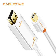 Cabletime の Mini Displayport 1.2 DP hdmi ケーブル Hdmi ケーブルアダプタ 4 18K * 2 HDMI DisplayPort ケーブル 1080 用テレビ N043(China)