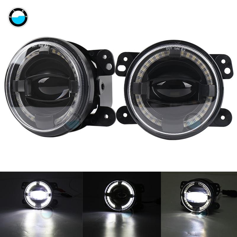 For Jeep Wrangler Dodge Chrysler Cherokee 30w Chip Led 4 Inch White Round Fog Lights Lens Projector DRL Off Road Fog Lamps.