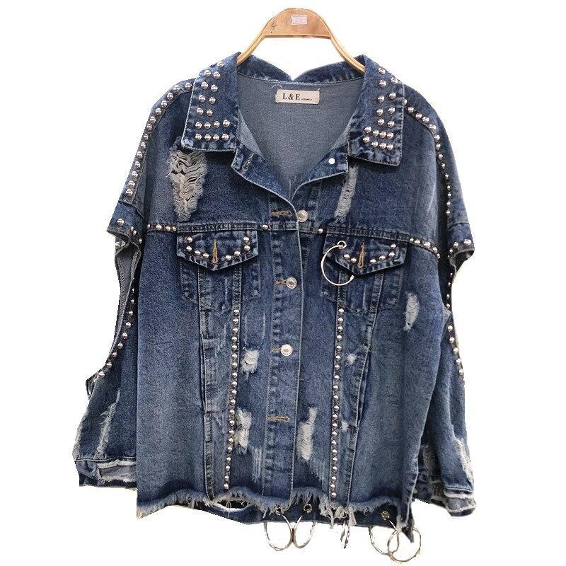 Spring Gat Jas Women Hip Hop Jas Oversized Jeans Jas Sound Nails Drawing Harajuku Losse Street Wear   Basic     Jacket   Upstairs