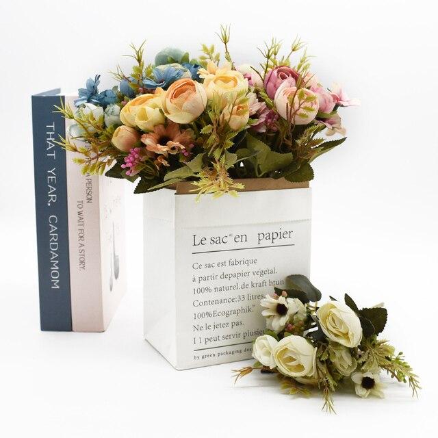 Multicolor Tea Roses Vases for Home Decoration Accessories Fake Daisy Plastic Plants Wedding Decorative Artificial Flowers Cheap 5