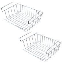 Under Shelf Storage Basket, 2 Pcs Cabinet Wire Basket Organizer Fit Dual Hooks for Kitchen Pantry Desk Bookshelf C