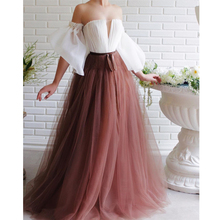 New Two Color Long Prom Dresses Off the Shoulder Tulle Eveni