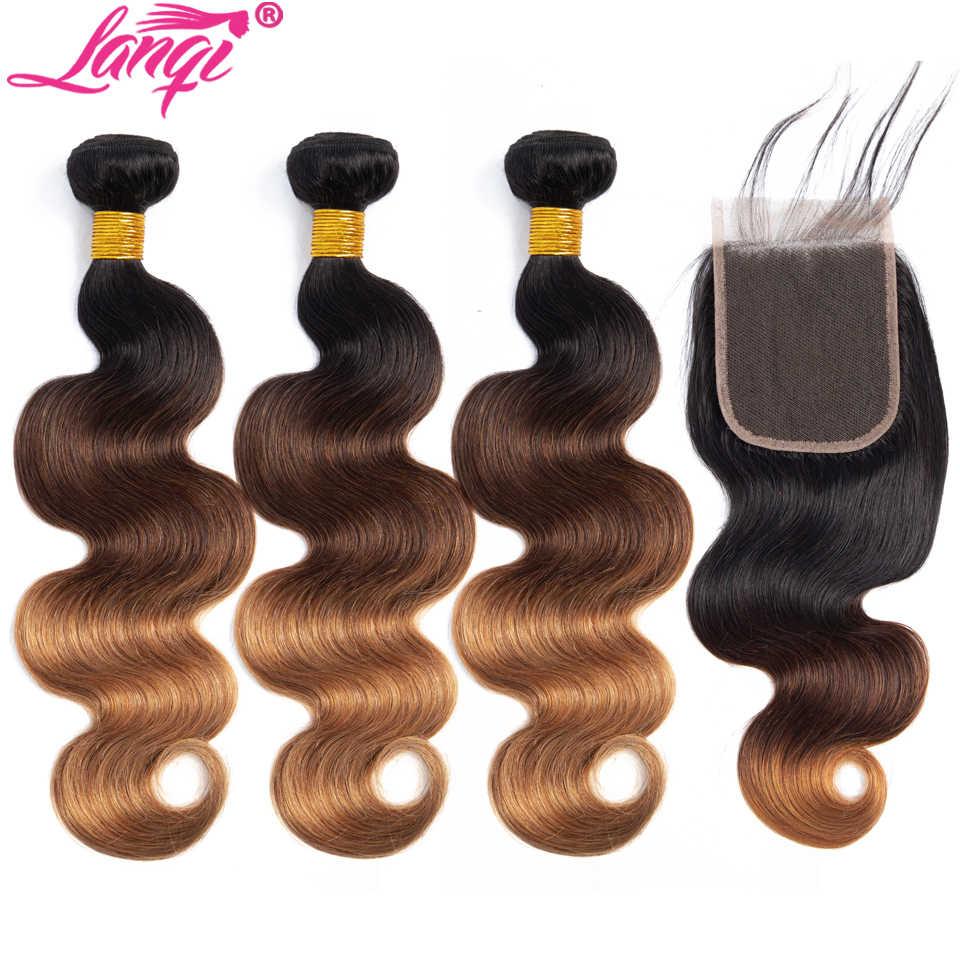 T1b/4/30 mechones de cabello humano postizo con pelo rubio miel, mechones con cierre brasileño, mechones de cabello humano postizo ondulado con cierre, no remy