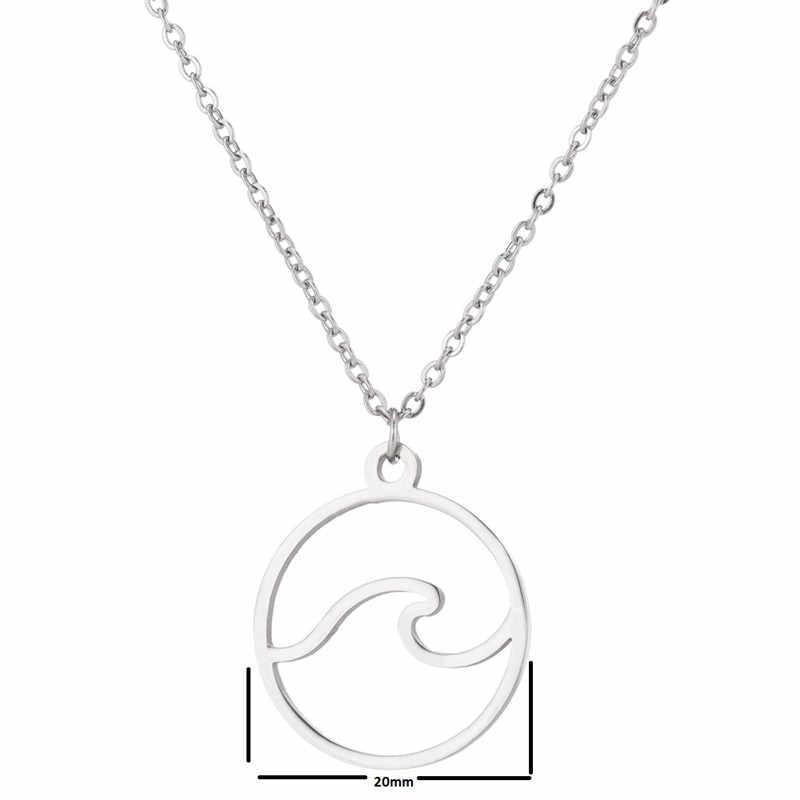 Oly2u moda lato okrągłe Charms fala naszyjnik Nautical biżuteria dla kobiet mężczyzn podróży miłość boże narodzenie accesorios mujer