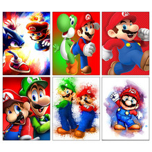 Diy 5D Diamond Embroidery Mario Role Diamond Mosaic Cross Stitch Childhood Game Diamond Painting Cartoon Character Craft Kit(China)