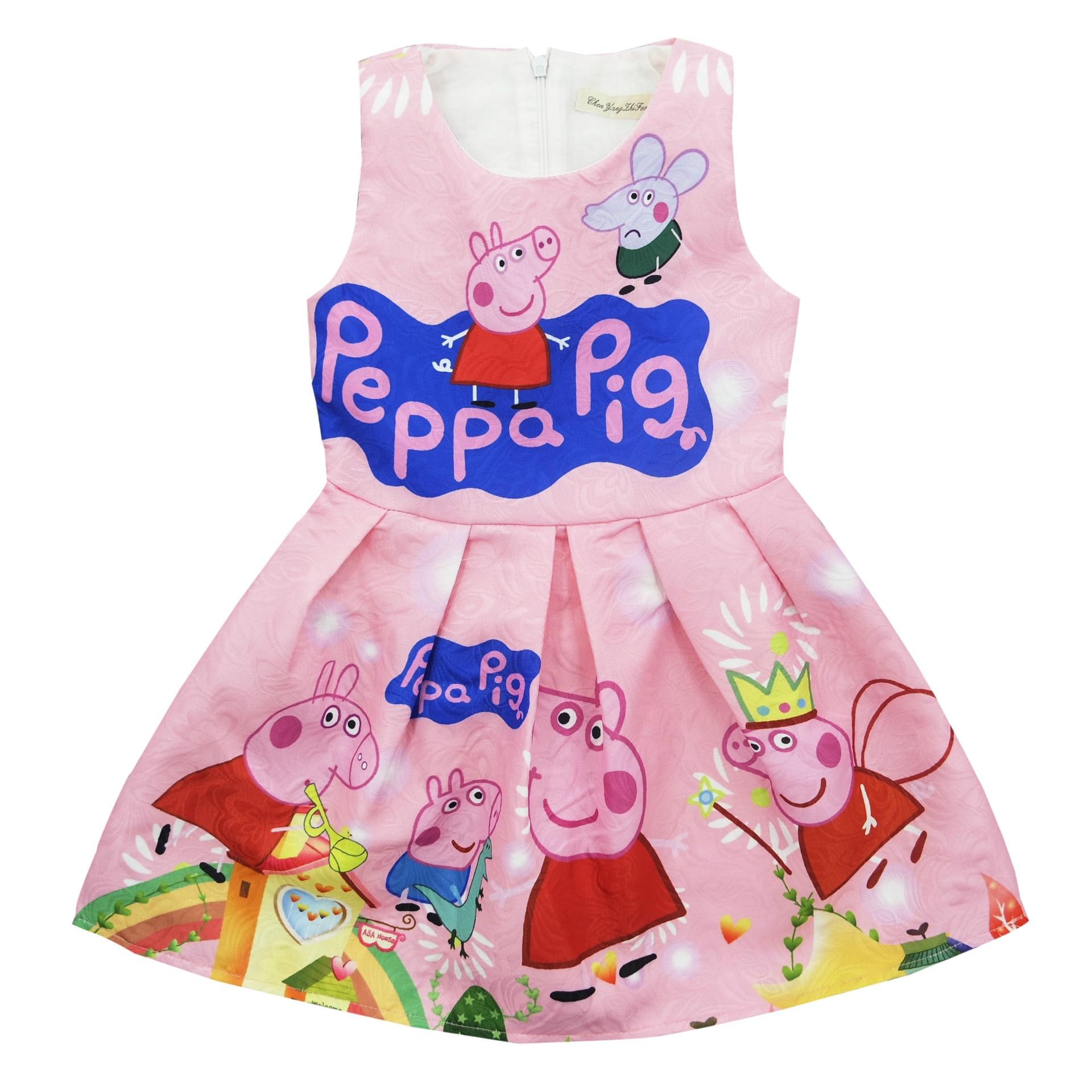 Peppa Pig, vestido de verano para niña de manga corta, vestido de princesa para fiesta, vestido para niña, disfraz de Cosplay de cumpleaños, ropa para niños pequeños 2020 nuevo vestido de baile de lentejuelas listo para enviar tamaño US2-US14 vestido para quinceañeras 15 años Formal baile de graduación cumpleaños