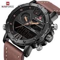Original NAVIFORCE Dual Display Digital De Quartzo Dos Homens Relógios de Marca Militar dos homens Digital LED relógio de Pulso Masculino Relógio À Prova D' Água|Relógios de quartzo| |  -