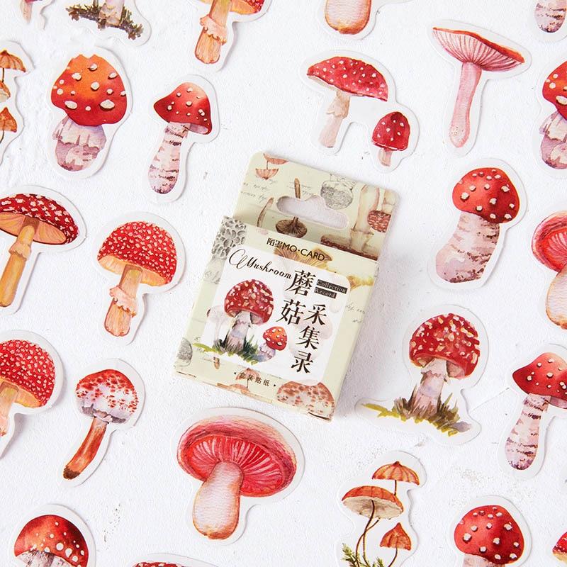 45Pcs/Box Kawaii Mushroom Sticker Cute Toys Stickers Bullet Journal Sticker For Kids DIY Diary Scrapbooking Decor Supplies