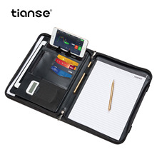 TIANSE A4 PU Leather Office Manager Padfolio Fichario Document File Folder Binder  Notebook Handle Zipper