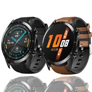 Кожаный ПУ + Силиконовый ремешок для Huawei Watch GT/GT2/GT 2E 46 мм смарт-браслет для Samsung Galaxy Watch 46 мм Correa
