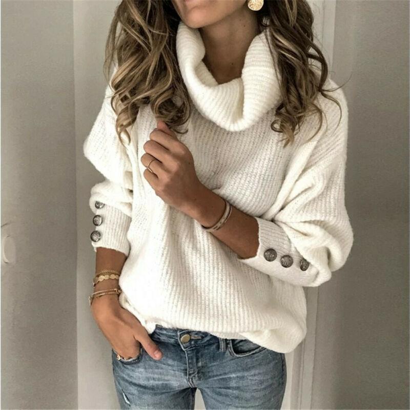 Women's Winter Long Sleeve High Neck Sweater Autumn Jumper Cardigans Knitwear Ladies Winter Casual Pullover Outwear Tops Blouse
