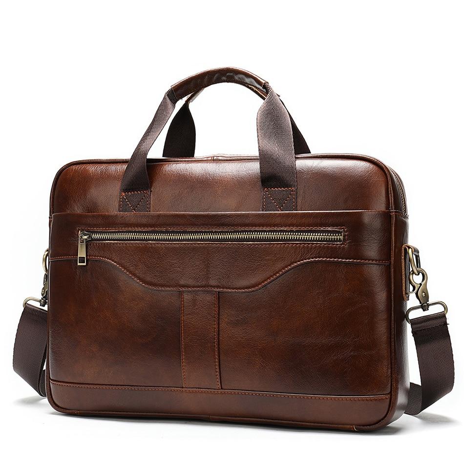Mens Briefcase Bag Genuine Leather Shoulder Messenger Bags Black Brand Business Laptop Bag High Quality Male Office Handbag