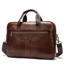 Mens Briefcase Bag Genuine Leather Shoulder Messenger Bags Black Brand Business