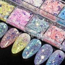 12 grades/Set suprimentos unhas parafusos rodada hexagon glitter holográfico decorações da arte do prego decalques meramid sequines unhas acessórios definidos