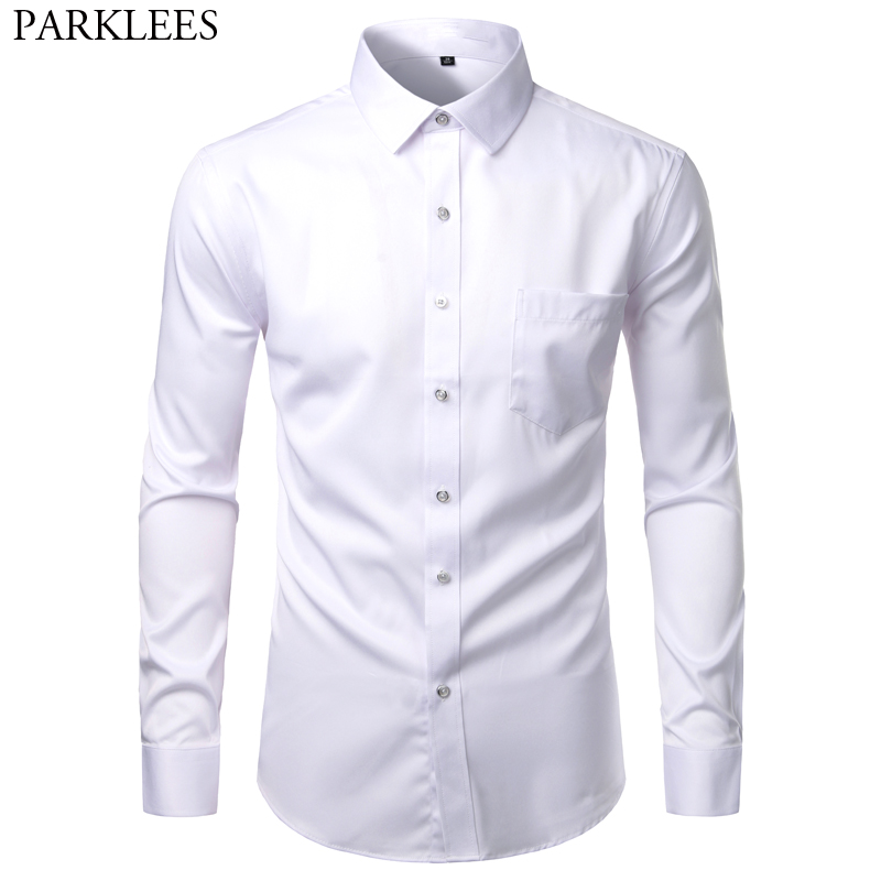 Mens White Bamboo Fiber Dress Shirts Slim Fit Wrinkle Free Casual Shirt Chemise Non Iron Easy Care Elastic Wedding Working Shirt