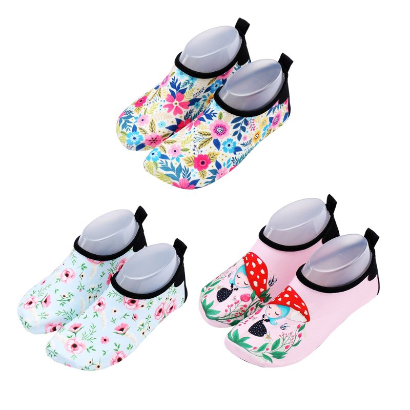 Toddler Kids Beach Swim Pool Water Shoes Cartoon Mushroom Girl Floral Quick-Dry Breathable Non-Slip Sole Barefoot Aqua Socks