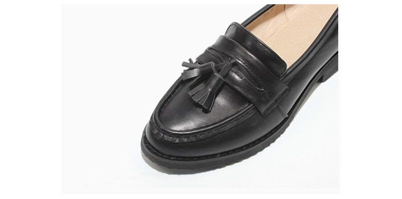 Spring Autumn New Pedal Genuine Leather Loafers Shoes Women British Polished Flat Tassel Oxford Shoes For Woman Large Size 32-43 (53)